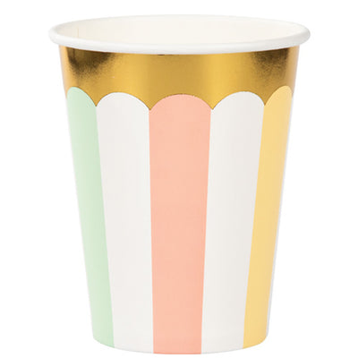 Pastel Striped Party Paper Cups