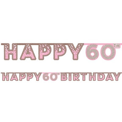 Pink 60th Birthday Banner