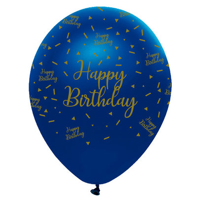 Happy Birthday Navy and Gold Latex Balloons