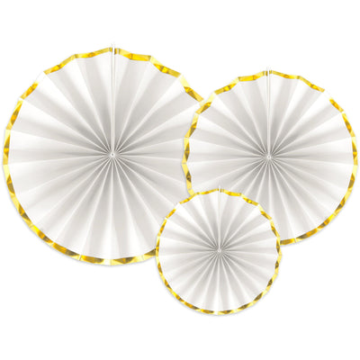 White and Gold paper Fan Decorations