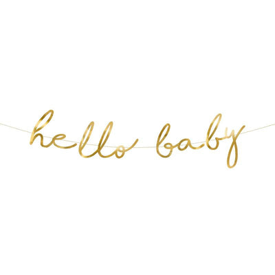 Hello Baby Gold Banner Party Deco
