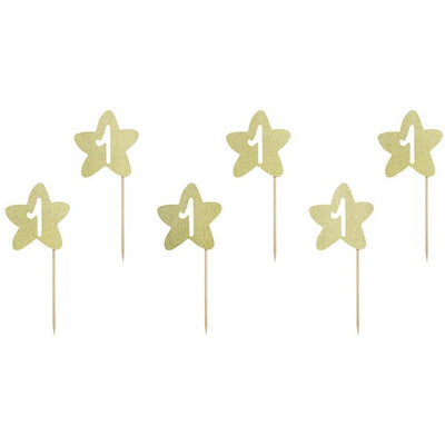 Gold Star First Birthday Cupcake Toppers