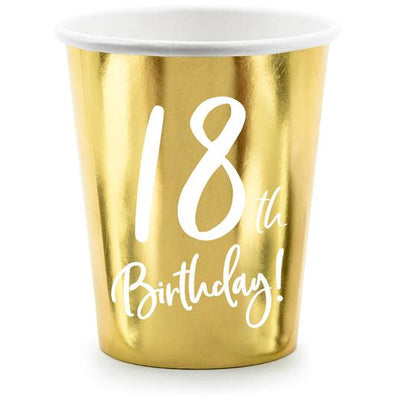 18th birthday Party Cups in Gold Foil