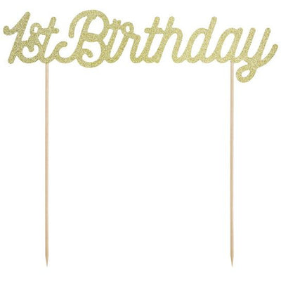 Gold 1st Birthday Cake Topper Party Deco