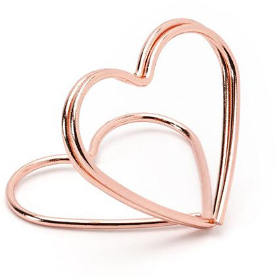 Rose Gold Hearts Place Card Holders For Weddings