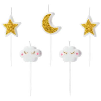 Star, Moon and cloud candles party deco