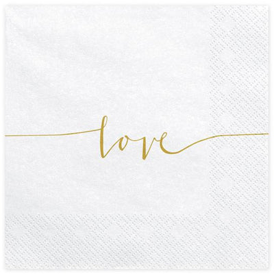 Love Paper Napkins in White and Gold