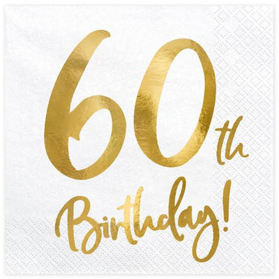 60th Birthday Party Paper napkins with Gold Foil