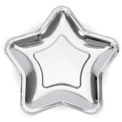 Silver Star Shaped paper plates