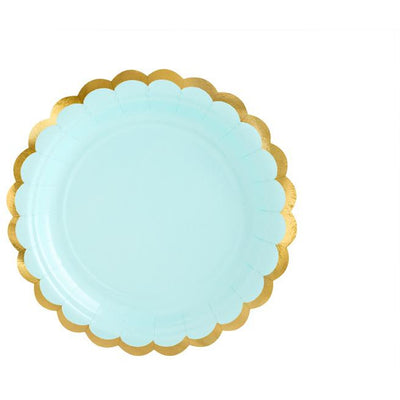Mint and Gold Scalloped Paper Plates