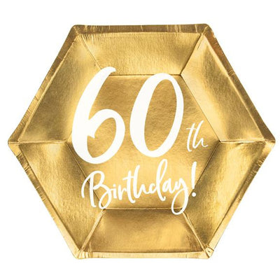 60th Birthday Party Plates in gold foil