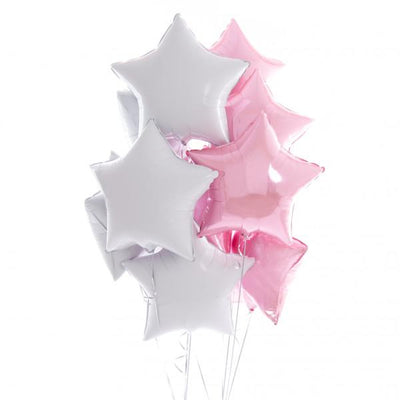 Bubblegum Balloons - Inflated Pink & White Star Balloons - infpinkwhitestar- The Original Party Bag Company