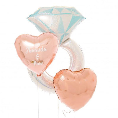 Bubblegum Balloons - Personalised Inflated Foil Bunch - Diamond Ring - persengagefoil- The Original Party Bag Company