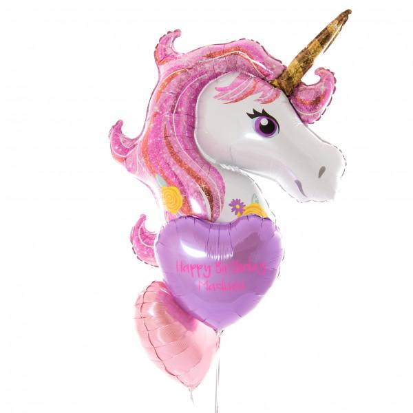 Bubblegum Balloons - Personalised Inflated Foil Bunch - Sparkle Unicorn - perssparkunifoil- The Original Party Bag Company