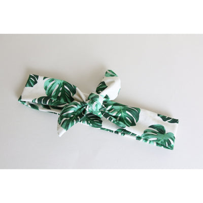 Cream Palms Headband Tie