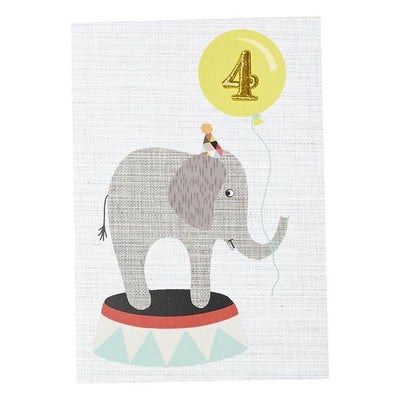 4th Birthday Card Elephant