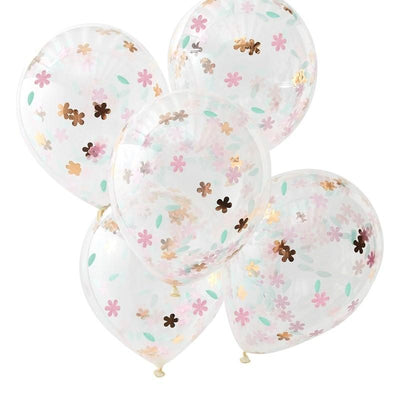 Ginger Ray - Ditsy Floral Confetti Balloons (Pk5) - df-812- The Original Party Bag Company
