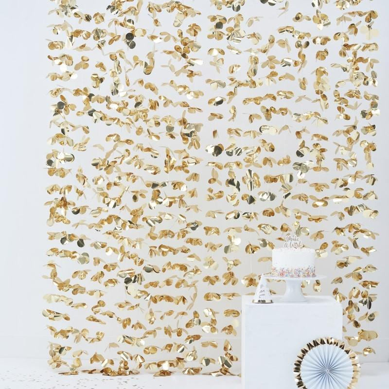 Ginger Ray - Gold Floral Party Backdrop - pm-422- The Original Party Bag Company