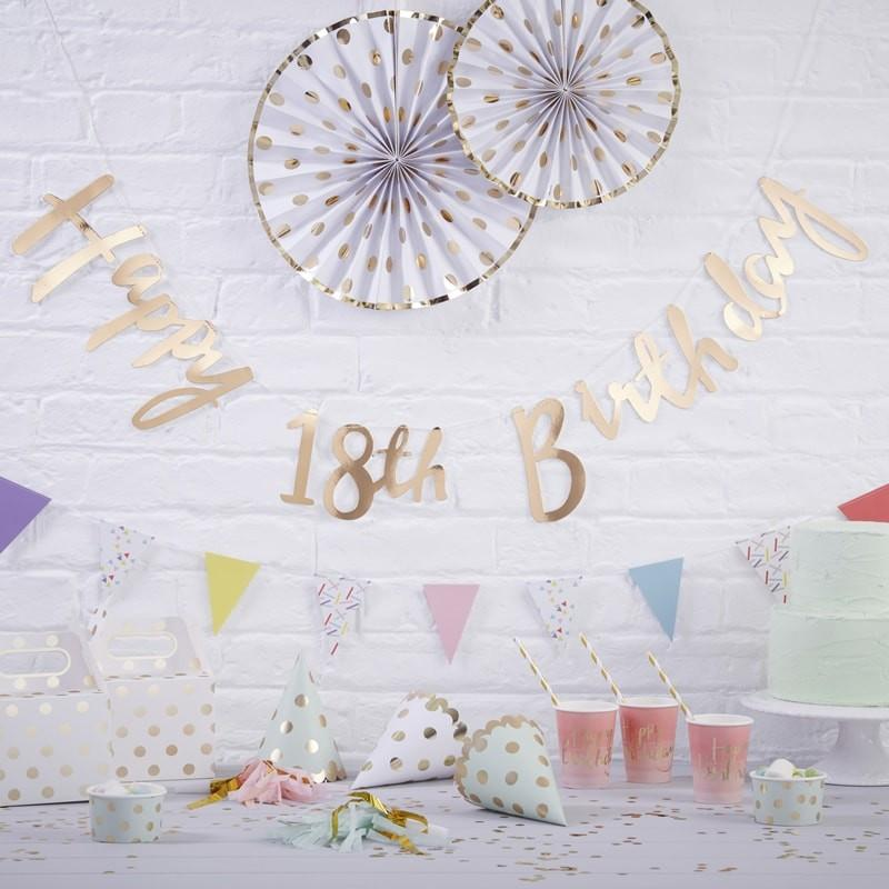 Ginger Ray - Gold Happy 18th Birthday Bunting - pm-228- The Original Party Bag Company