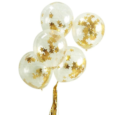 Ginger Ray - Gold Star Shaped Confetti Filled Balloons (pk5) - ms-191- The Original Party Bag Company