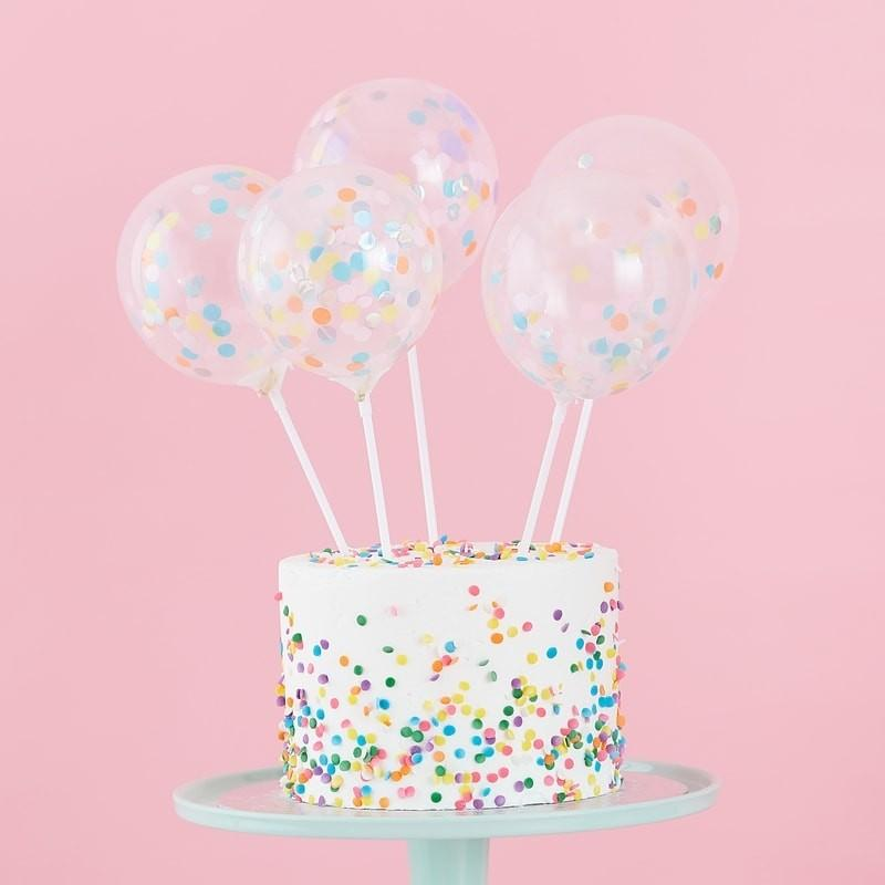 Ginger Ray - Mini Pastel Confetti Balloon Cake Toppers (Pk5) - ps-520- The Original Party Bag Company