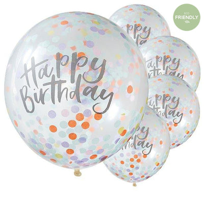 Ginger Ray - Pastel Happy Birthday Confetti Balloons (Pk5) - PS-502- The Original Party Bag Company