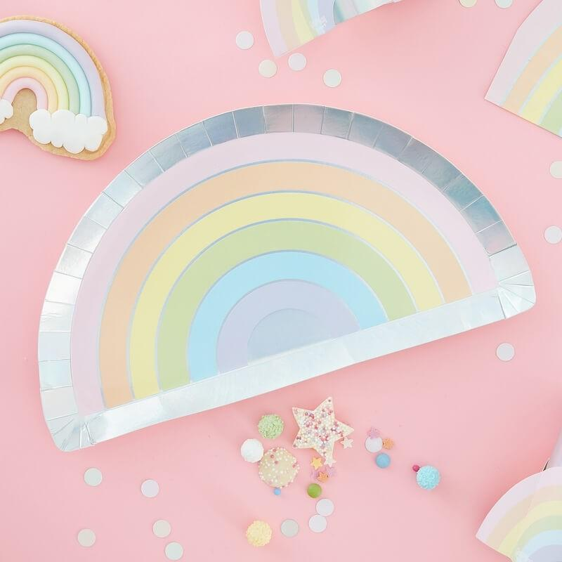 Ginger Ray - Pastel Stripe Rainbow Plates (Pk8) - ps-557- The Original Party Bag Company