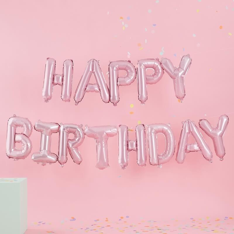 Ginger Ray - Pink Happy Birthday Balloon Bunting - PS-527- The Original Party Bag Company