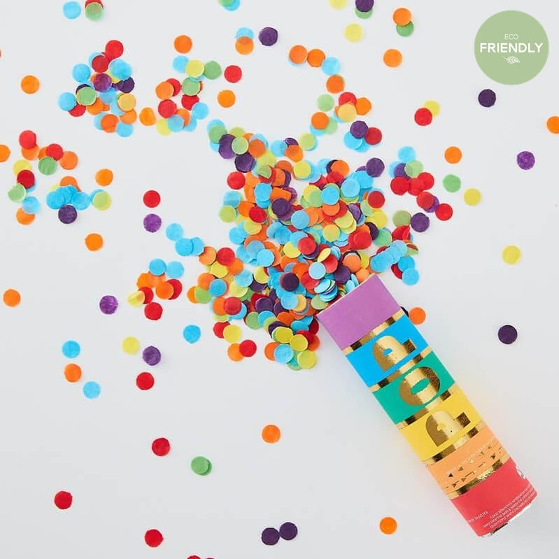 Ginger Ray - Rainbow Biodegradable Confetti Cannon Shooter - RA-937- The Original Party Bag Company