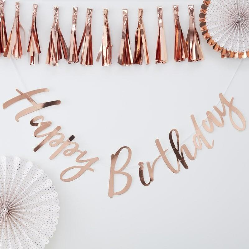Ginger Ray - Rose Gold Birthday Bunting - PM-332- The Original Party Bag Company