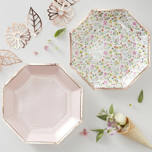 Ginger Ray - Rose Gold Floral Paper Plates (Pk8) - DF-801- The Original Party Bag Company