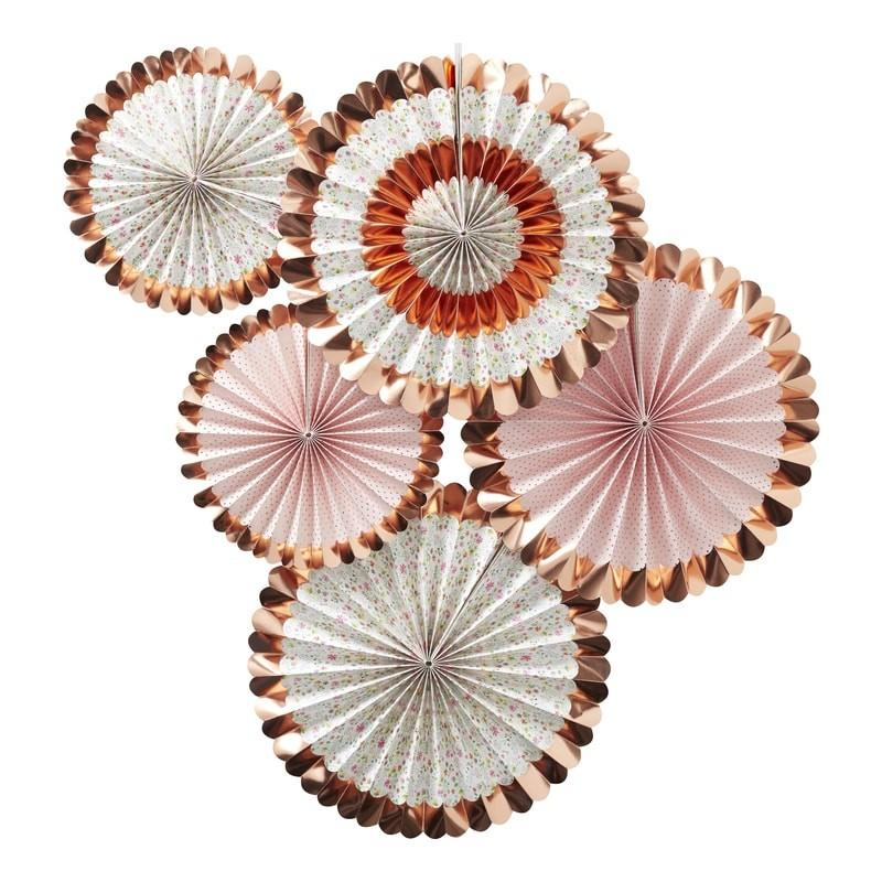 Ginger Ray - Rose Gold Foiled Floral Fan Decorations - DF-810- The Original Party Bag Company