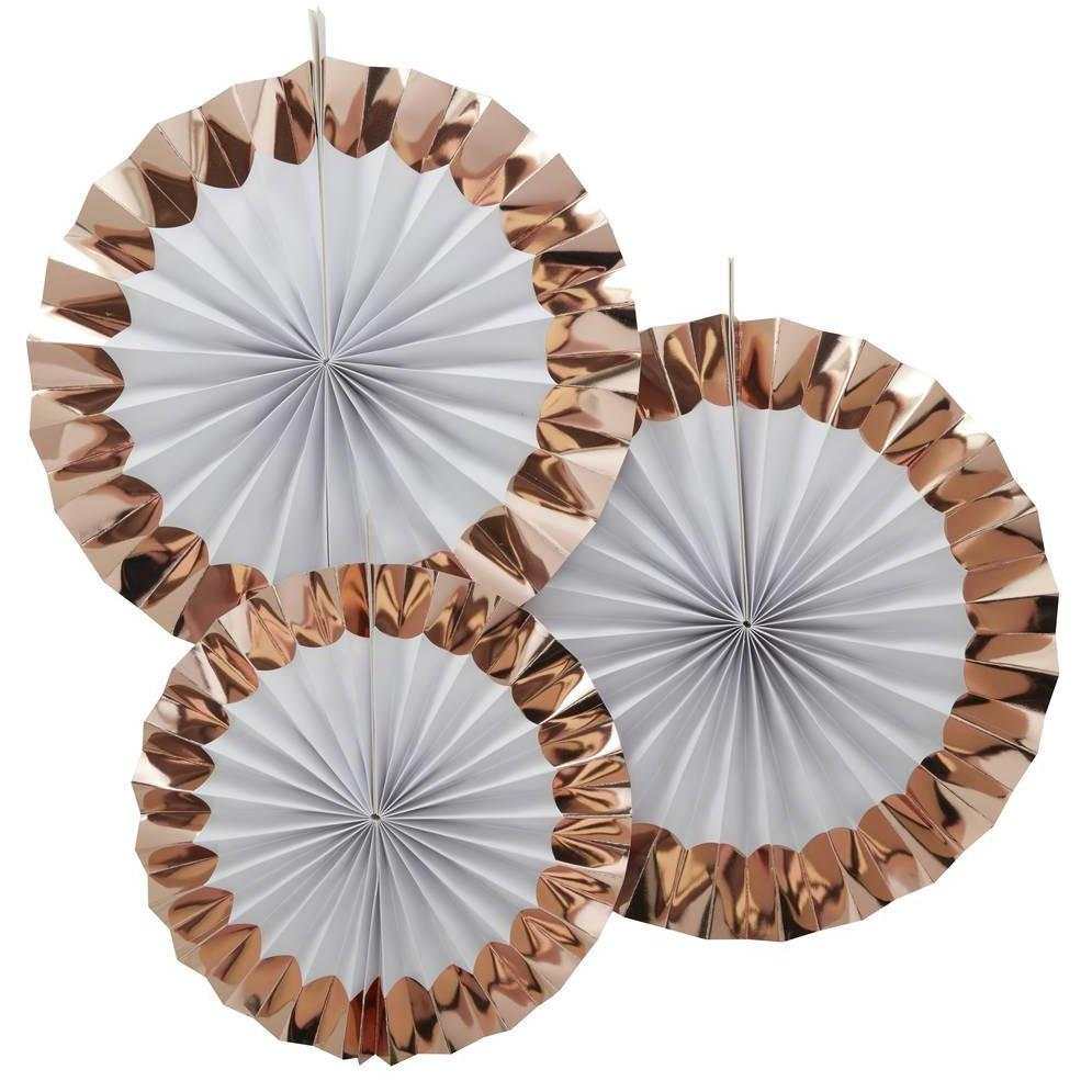 Ginger Ray - Rose Gold Paper Fans (Pk3) - TB-611- The Original Party Bag Company