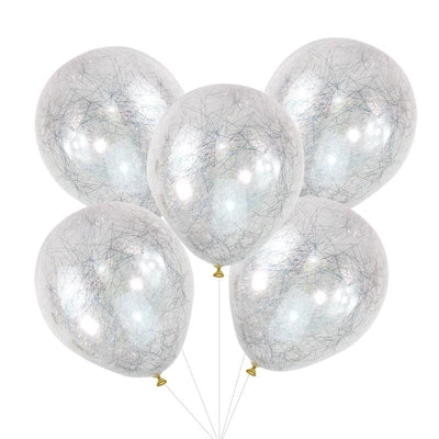 Ginger Ray - Silver Angel Hair Confetti Balloons (Pk5) - pop-419- The Original Party Bag Company