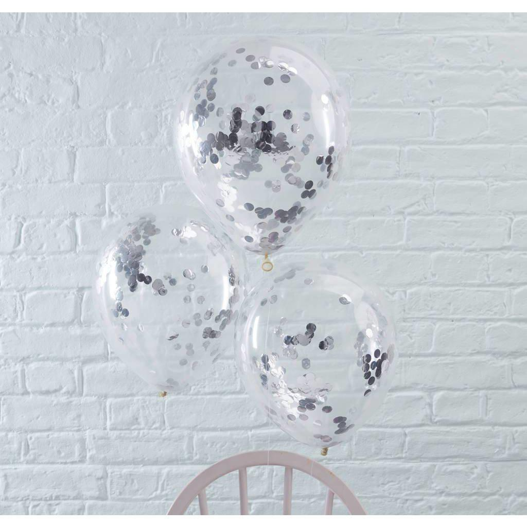 Ginger Ray - Silver Confetti Balloons (Pk5) - PM-197- The Original Party Bag Company