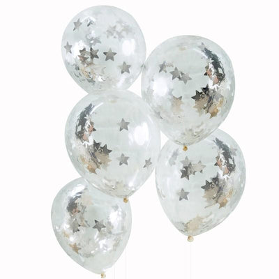 Ginger Ray - Silver Star Shaped Confetti Filled Balloons (Pk5) - ms-192- The Original Party Bag Company