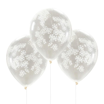 Ginger Ray - Snowflake Confetti Balloons (pk5) - rc-823- The Original Party Bag Company
