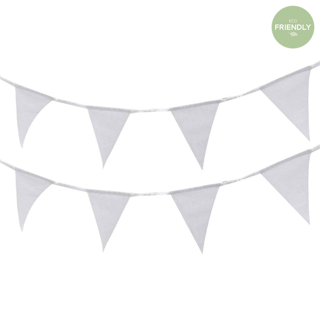 Ginger Ray - White Fabric Bunting - BB-289- The Original Party Bag Company