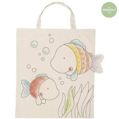 Gollnest and Kiesel - Colour In Fish Cotton Bag - 58731- The Original Party Bag Company