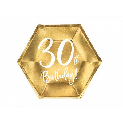 30th Birthday Gold Party Paper Plates
