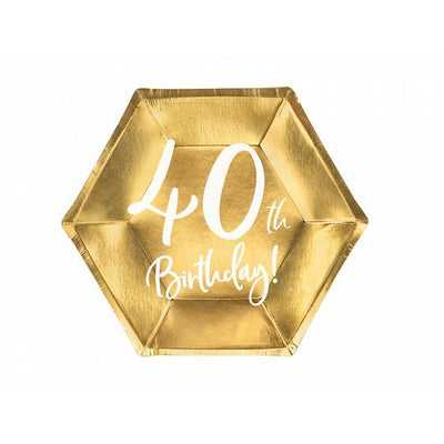 40th birthday party plates in gold foil