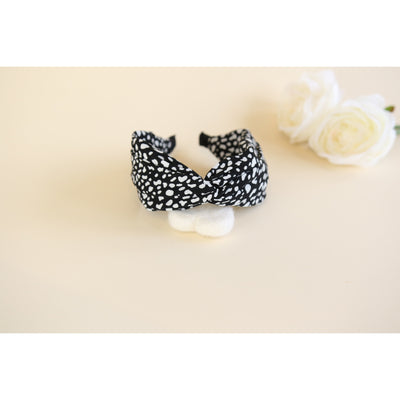 black & white dot twist headband