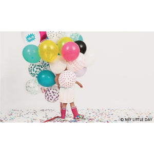 "My Little Day - 12"" Yellow Confetti Print Balloons (Pk5) - MLD-BACONJA- The Original Party Bag Company"