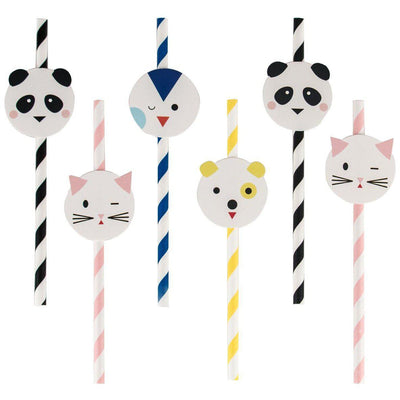 My Little Day - Cute Animal Paper Straws (Pk12) - MLD-PAMINIANI- The Original Party Bag Company