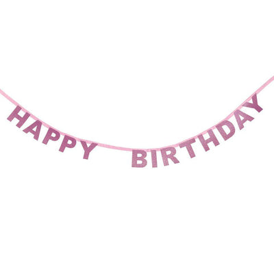 My Little Day - Pink Glitter Birthday Garland - MLD-GUIHBDRO- The Original Party Bag Company