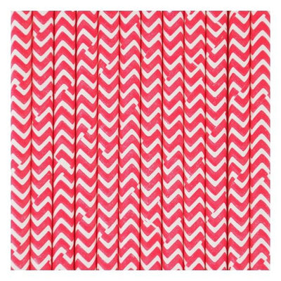 My Little Day - Red Chevron Paper Straws (Pk25) - MLD-PACHROU- The Original Party Bag Company