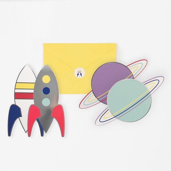 My Little Day - Space Party Invitations (Pk8) - MLD-INVIT-COSMO- The Original Party Bag Company