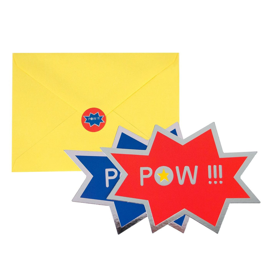 My Little Day - Superhero Party Invitations (Pk8) - MLD-INVIT-SHMT- The Original Party Bag Company