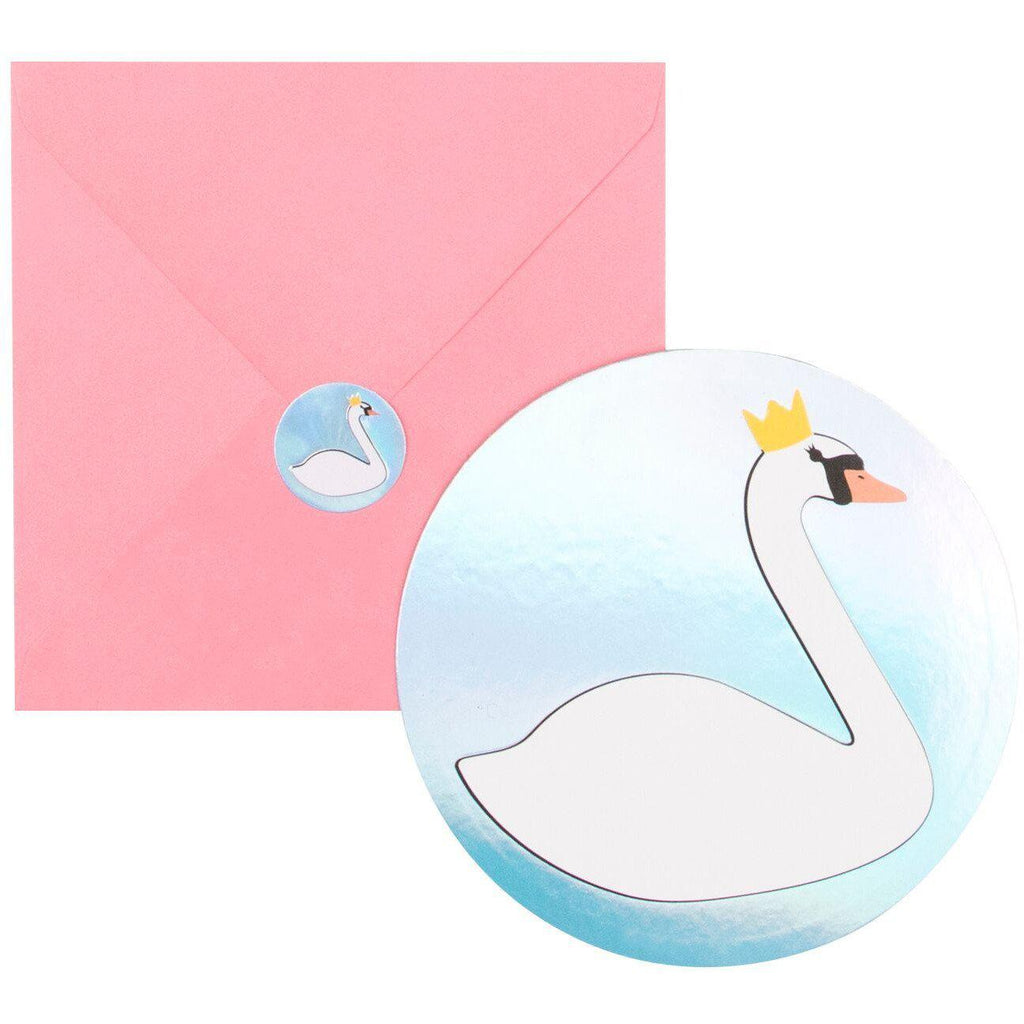 My Little Day - Swan Party Invitations (Pk8) - mld-invit-cygne- The Original Party Bag Company