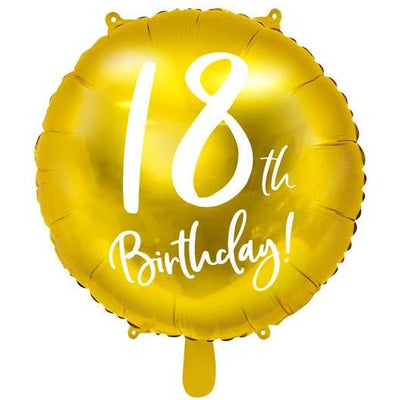 Party Deco - 18th Birthday Gold Foil Balloon - FB24M-18-019- The Original Party Bag Company